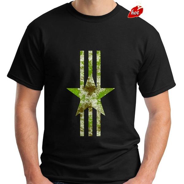 T Shirt Hip-Hop New Military Green Camo Star Logo White Stripes Conservative Men's Black T-ShirtT-shirt Novelty Tees