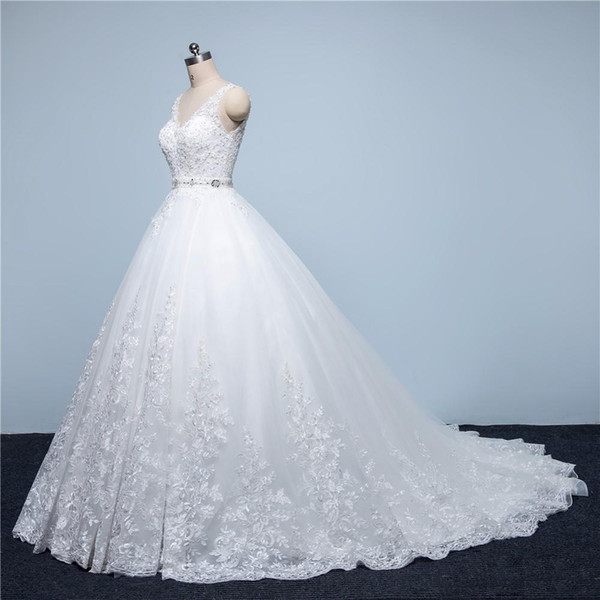 Real Picture Vintage Lace Wedding Dresses 2018 A-Line V-Neck Beaded Sash Backless Sexy Modest Bridal Gowns China Online Wedding Party Gowns