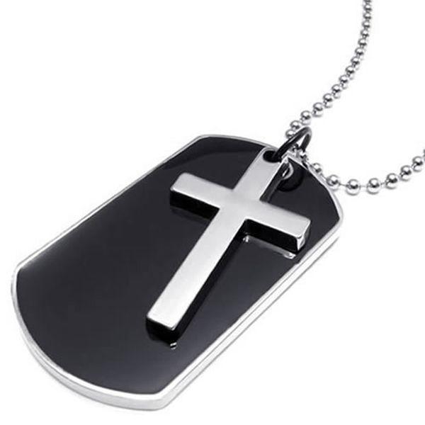 A colar dos homens do pendente da cruz da etiqueta de cão do estilo do exército, colore a prata preta, corrente de 27 polegadas