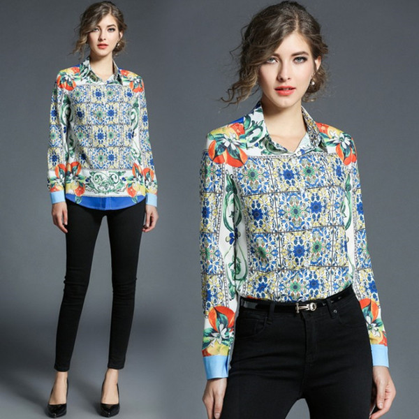 2018 Spring Cotton Print Vintage Women Shirt Long Sleeve Bow Starry Sky Printing Slim Fit Casual Pullover Blouse Shirt