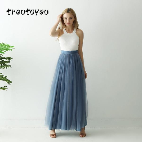 2019 Treutoyeu 3 Layers Maxi Long Skirt Soft Tulle Skirt Plus Size Tutu  Women Dust Blue Long Ball Gown Jupe Saias Faldas From Bigseaa, $68.6 | ...