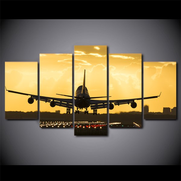 Wall Art Canvas Painting 5 piece Golden Sunset HD Print Wall Canvas Art Airplane Posters For Room Decor Free Shipping CU-2784C