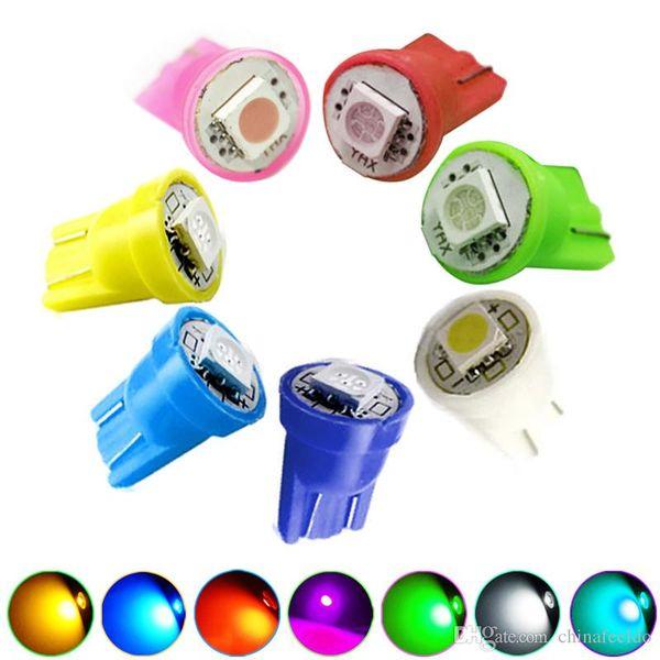 50pcs DC12V Car 168 194 T10 5050 Chip 1SMD LED Wedge Base Car LED Light Bulbs 7-Color #1525