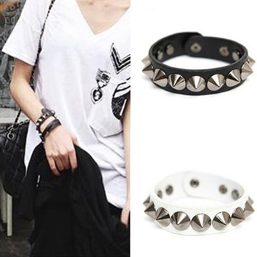 Punk Gothic Rock Faux Leather Rivet Stud Spike Bracelet Cuff Bangle Wristband