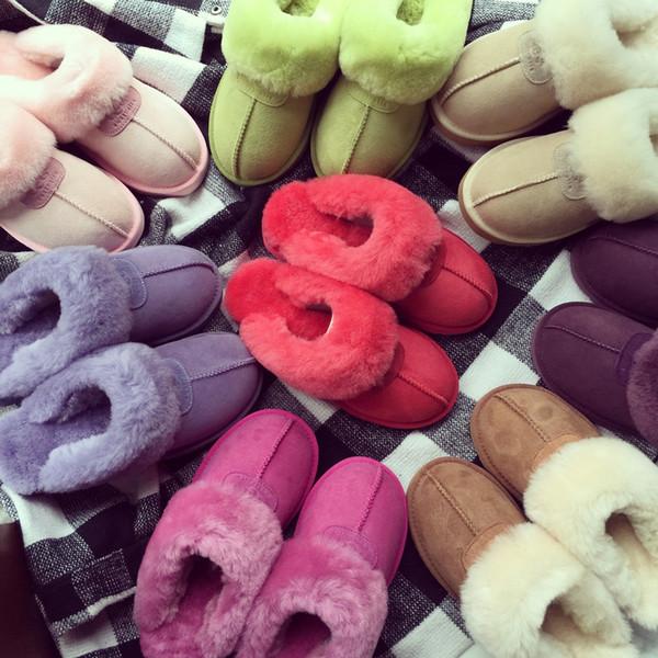 Unisex UG Winter Fur Slipper Men Women Suede Sandals Fleece Short Boots Plus Size Kids Teenager Leather Snow Boots Indoor Outdoor Shoes new