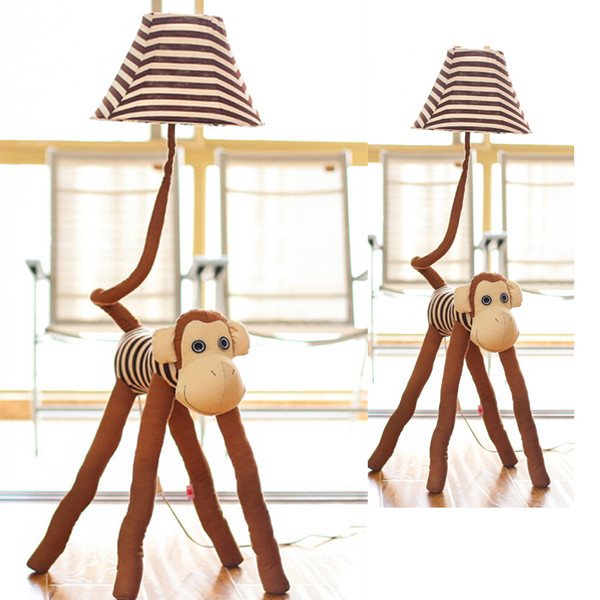 Kumaş Avrupa Aydınlatma Led Çocuklar Zemin Lambası Sevimli Dekor Ayakta Lambaları 110 V / 220 V E27 Sevimli maymun Karikatür Aydınlatma Yatak Odaları