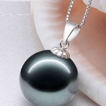 Free shipping Tahiti Black Pearl Pendant 925Silver natural seawater is very light round to send his girlfriend Necklace