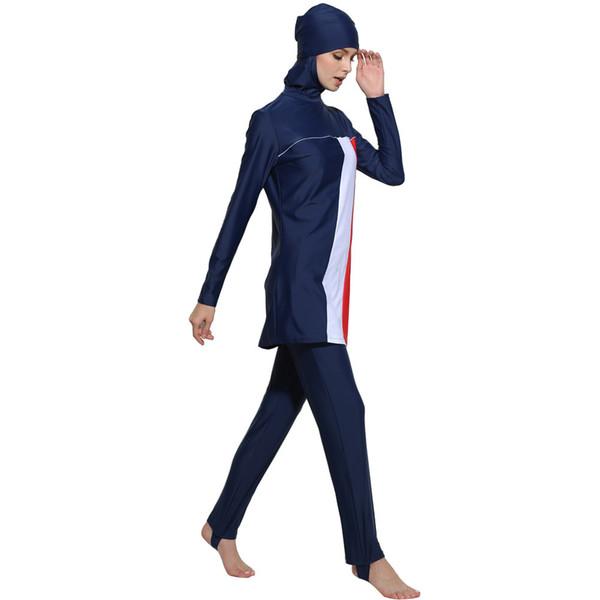 Free Plus Size Muslim Swimwear Women Islamic Swimsuit Long Sleeves Conservative Burkinis Bathing Modest Detachable Hijab