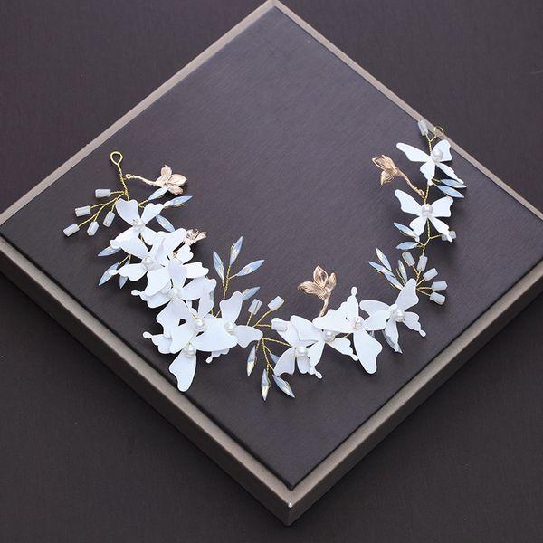 Elegant Crystal Strass Couleur Blanche métal fleurs bandeau Bridal Hairband