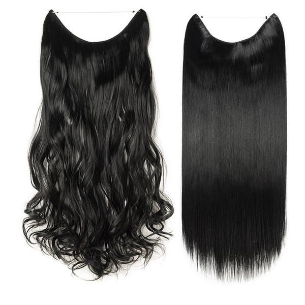 Haarverlängerungen Lange echte gerade lockige Draht Stirnband Clip in Haarverlängerungen als menschliches Haar 90g-120g