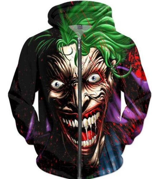 New Fashion Couples Men Women Unisex Suicide Squad 3D Print Zipper Zip Up Hoodies Jacket Top X8