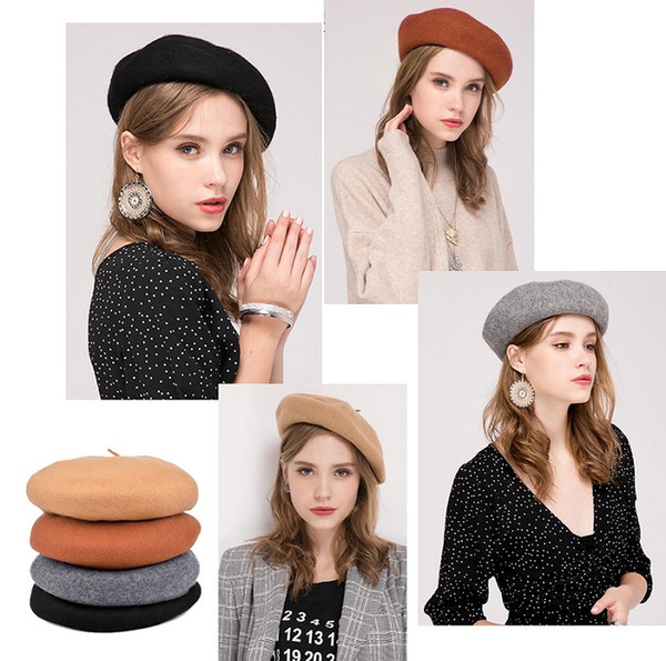 Stand Focus 100% Wool Beret French Beanie Painter Hat Cap Women Female Artist Fashion Great Shape Cotton Newsboy Red Black Navy Camel Felt