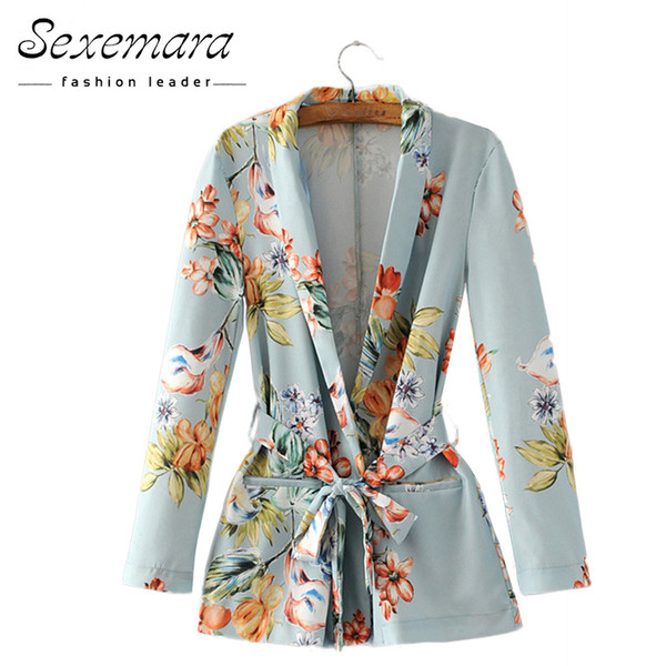 Autumn Women Floral Vintage Blazers 2017 Suit Ladies Notched Collar Outwear Female Jacket Casual Sashes Long Sleeves Pocket Coat
