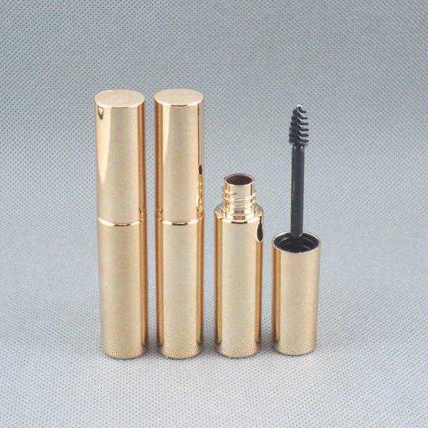 250 unids / lote envío gratis 8.0 ml oro brillante rímel botella de plástico envasado rímel vacío