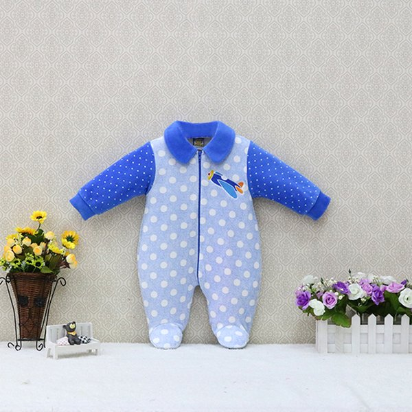 Wholesale Baby Long Sleeve Peter Pan Collar Rompers One Piece Clothes Velour Kids Clothing Zipper Newborn Sleep Suits