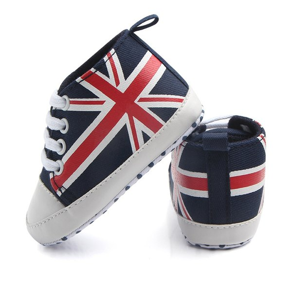 Spring And Autumn Newest Fashion Rice Flag Lace Canvas Shoes Toddler Rope Soled Shoes Hot Union Jack Pattern Baby