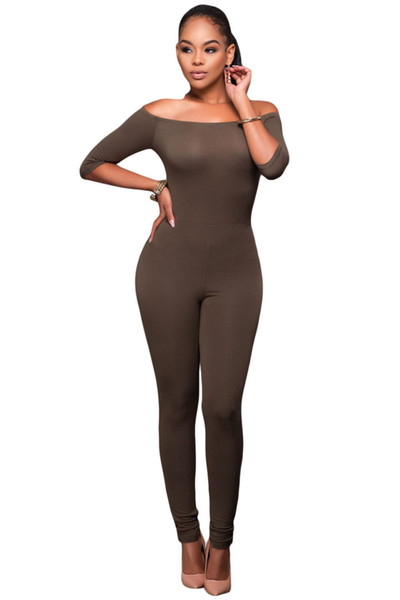 2018 Long Jumpsuits Women Long Autumn Overalls Sexy Black Bardot Neckline Fashion Bodycon Rompers monos largos de mujer