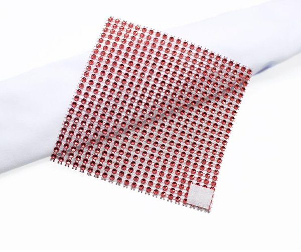 200 pcs Square Napkin Ring for Party Wedding Festival Decoration Plastic Chair Buckle Table Ornament Colorful Diamond Buckle