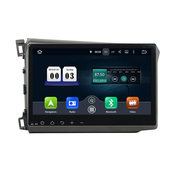 Car DVD player for Honda Civic 2012 Free shipping 10.1inch Octa-core 4GB RAM Andriod 8.0 with GPS,Steering Wheel Control,Bluetooth