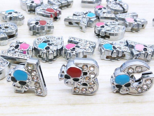 130pieces/lot 8mm colour full rhinestone slide letters A-Z diy charms fit 8mm Wristbnad Bracelets women Ribbon accessories wholesale