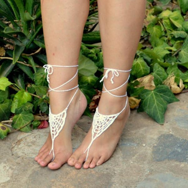 Crochet Barefoot Sandals,Spiderweb Inspired - WHITE - Crochet Sandals, Sexy Foot Anklet, Toe Ring, Yoga, Foot Thongs, Nude Shoes, Lace..