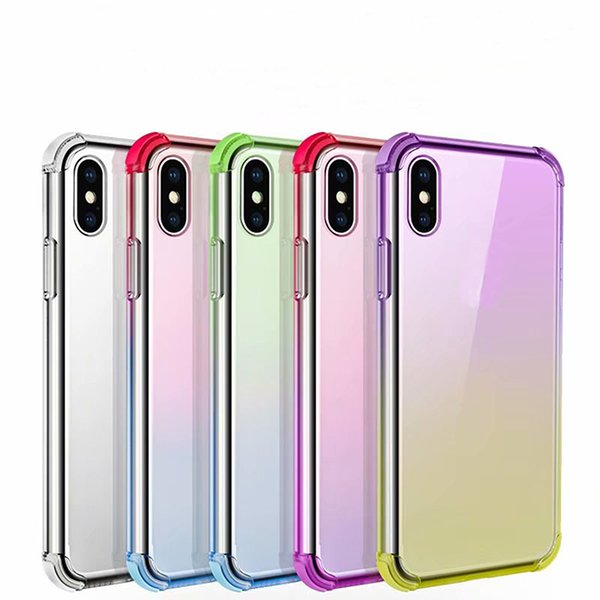 High quality Gradient Color Phone Soft TPU Shockproof Protective Back Cover Case for iphone X 7G 8G 6S PLUS