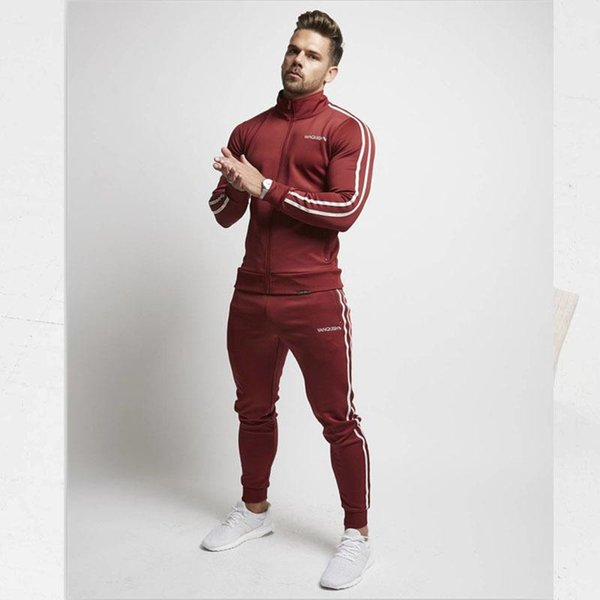 Mens Spring Tracksuits Sports GYM Slim Fit Clothing Sets Stand Collar Stripes Trimmed Tops Long Pants 2pcs Suits Sports Joggers