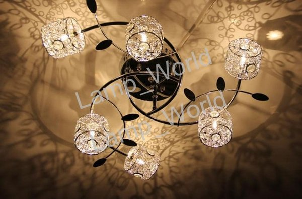 2018 New Modern Chrome Plating Aluminum Crystal Shade G4 6 Lights Hotel  Bedroom Living Room Mall Led Ceiling Lights From Lamp_world, $153 01  