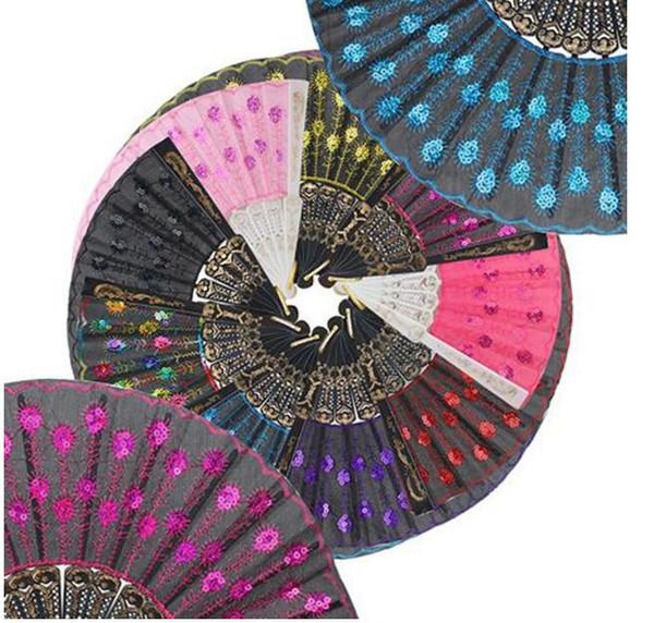 Paillettes Danza Fan Design creativo Peacock Pieghevole mano Fans Donna Stage Performance Prop Multi colore