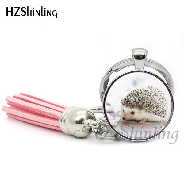 Fashion Hedgehog Tassel Keychain Cute Hedgehogs Keyring Handmade Glass Dome Key Chain Silver Gifts For Animal lovers