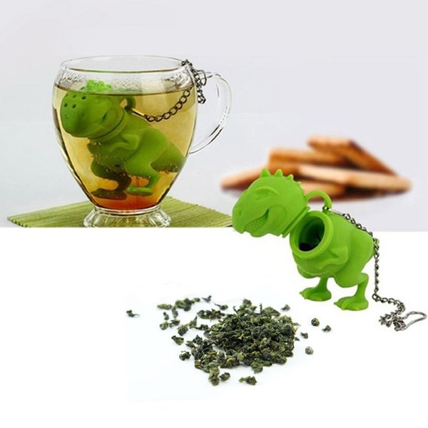 Green/Pink Silicone Dinosaur Tea Infuser Loose Leaf Strainer Herbal Filter Diffuser
