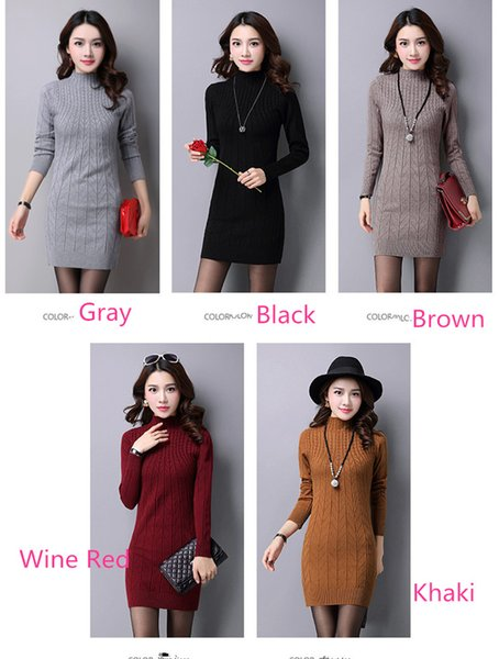 New Korean Autumn Winter Semi High Necked Sweater Long Sleeved Sleeve Bottoming Dress Knitted Sweater Mid-long Skirt A0074