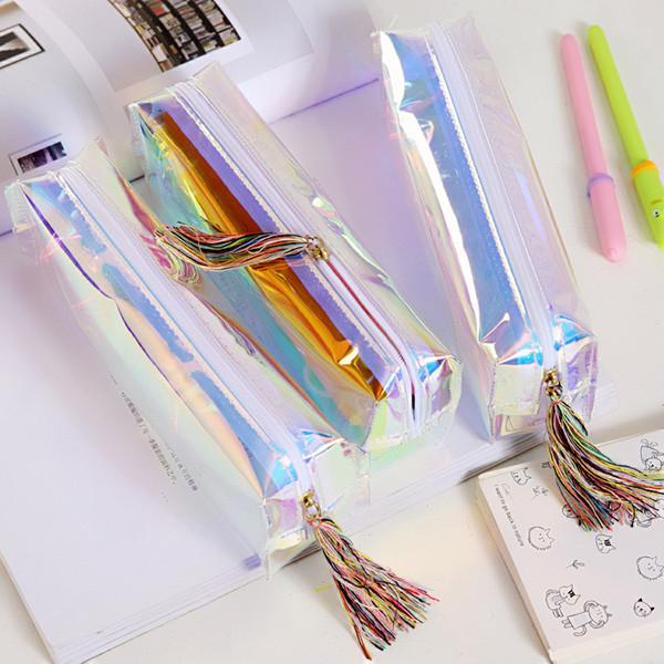 Transparent color pen bag Cool pen bag Laser package Stationery bags Colorful stationery box tassel pen bags T1D009