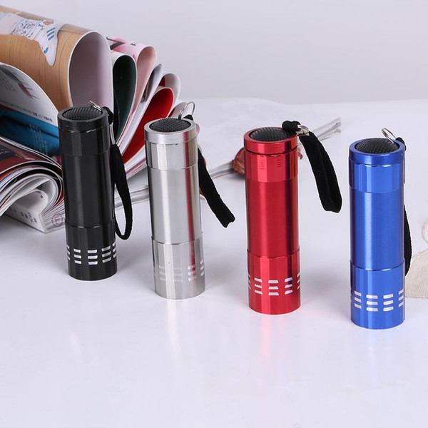 best selling Outdoor Cycling 9 LED Portable Mini torches flashlight led Zoom Aluminum UV Ultra Violet Flash Light