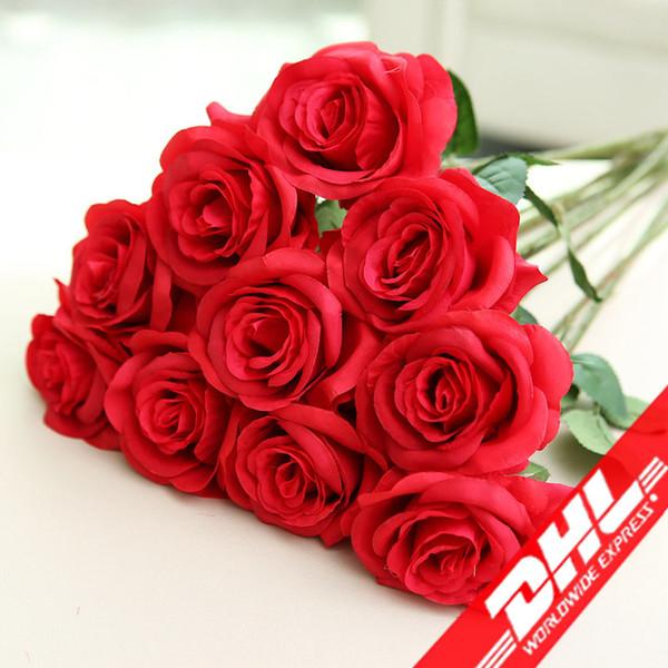 top popular Artificial Rose Silk Flower Blossom Bridal Bouquet for Home Wedding Decor 2021
