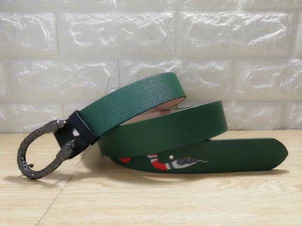 Green snake pattern bronze buckle