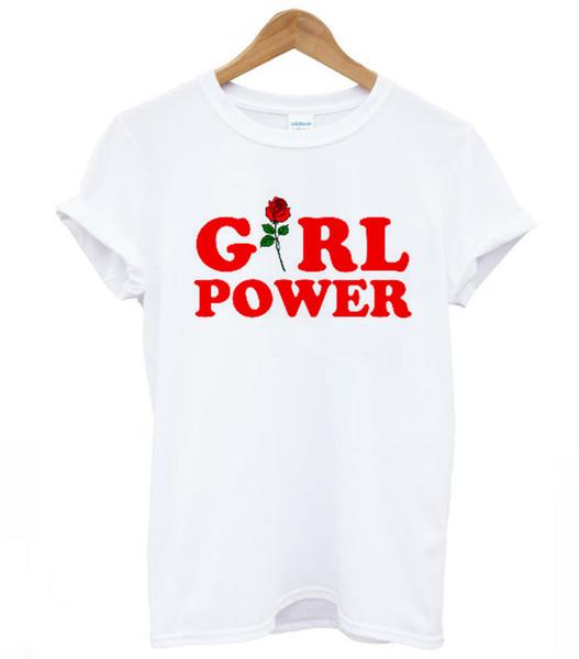 Kadın Tee Kız Güç Gül Kırmızı Baskı Kadın Tshirt Modal Rahat Gevşek Komik T Gömlek Lady En Tee Hipster Tumblr Bırak Gemi Için Sh-1
