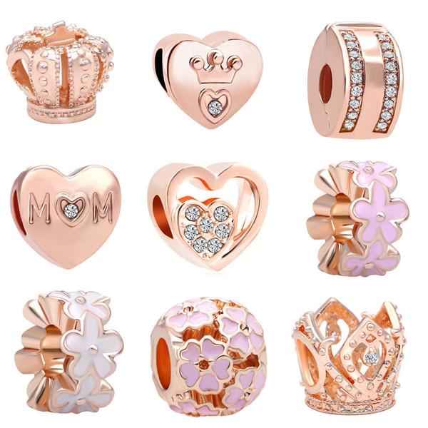 Freies Verschiffen MOQ 20pcs rosafarbenes Gold Crown Mom Flower-Perlencharme passten ursprüngliche Pandora-Armband-Schmucksachen DIY N003