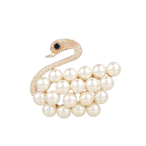 24PCS/Lot Cute Swan Brooch Pin with Pearl Women Brooch with Crystal Suit Pin Wedding Brooch Luxury Brand Designer Jewelry Lapel Pins