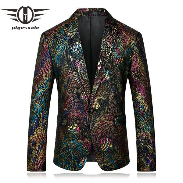 Plyesxale Men Blazer 2018 Slim Fit Fancy Blazers para hombres Disfraces para cantantes Prom Blazers Mens Paisley Suit Jacket Q254