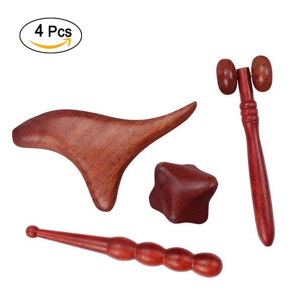 Profesyonel Tam Set 4 Adet Refleksoloji Aracı Geleneksel Tay Masaj El Ayak Yüz Vücut Akupunktur Noktası Masaj Doğal Kırmızı Ahşap