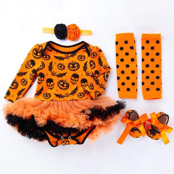 New Arrival Halloween Baby Rompers TUTU Long Sleeved Pumpkin Infant Jumpsuit+Socks+Headbands+First Walker Shoes Sets 0-2T Kids Costume C04