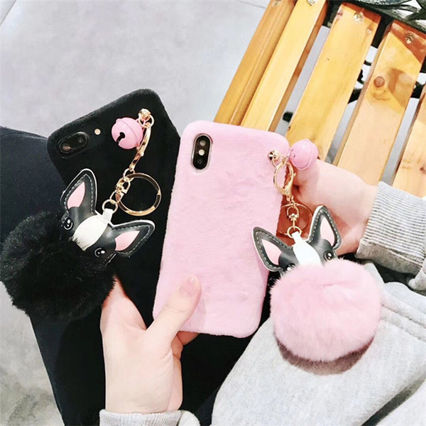 YunRT Fashion Mink Fur Ball with Metal Pendant Accessories Mobile Phone Cover for Iphone 7 8 7plus 8plus X Case Anti Shock