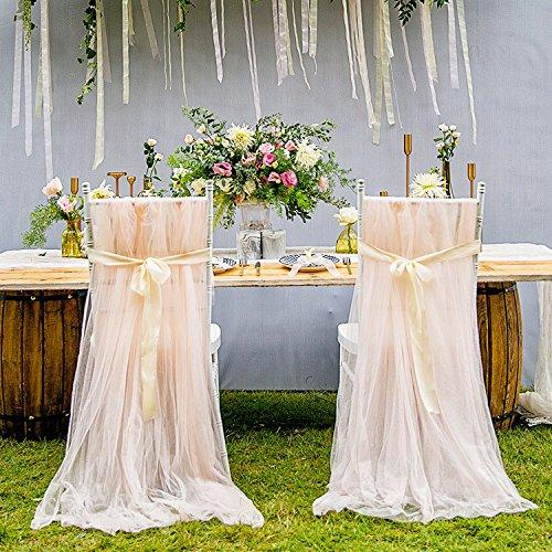 103 * 63 inches, Fluffy Champagne Color Chair Skirt Chair Cover Long Tulle High Chair Skirt Slipcovers For Bridal Shower, Wedding, Party