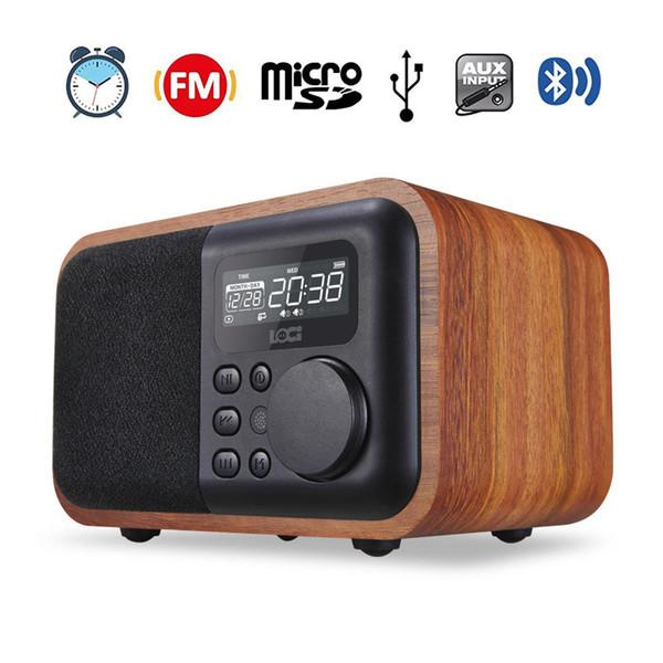 D90 Wireless Bluetooth Speaker Portable Wooden Speakers HIFI TWS Alarm Clock 1800MAh FM Radio USB TF Audio Speakers