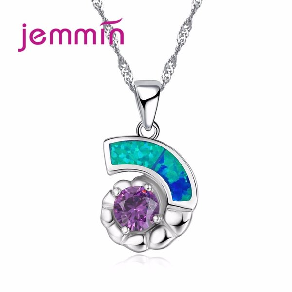 Jemmin Hot Promotion Delicate Gorgeous Flower Fire Opal Necklace Pendant for Women with Purple Crystal 925 Silver Jewelry