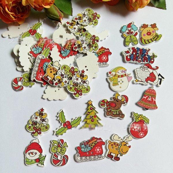 top popular Random Mixed Christmas Shaped Wooden Buttons 2 Holes Buttons For Sewing Scrapbooking Crafting And DIY Craft Pack Of 500pcs 2021