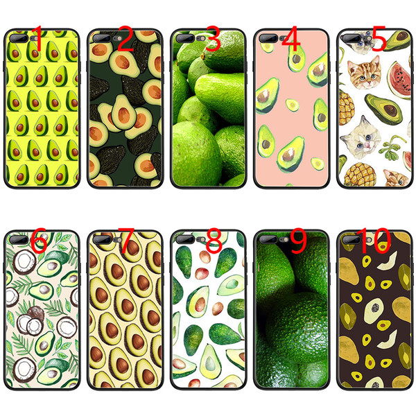 Avocado fruit art pattern Soft Black TPU Phone Case for iPhone XS Max XR 6 6s 7 8 Plus 5 5s SE Cover