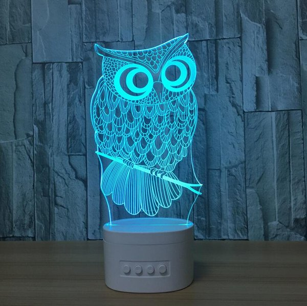 Bluetooth speaker base 3d owl shaped night light LED 5 colors rechargeable acrylic table lamp gift light