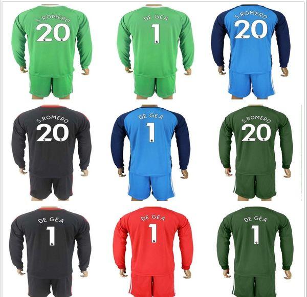 new arrival 0913a 825d8 Discount 2017 2018 Men Long Goalkeeper United Goalkeeper Jersey Soccer Sets  #1 David De Gea S.Romero Joel Cast Goalie Football Keeper Jerseys Maglia ...